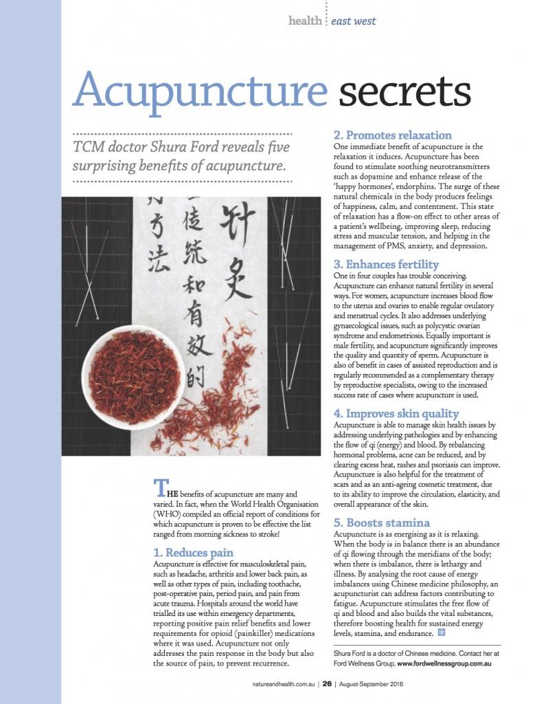 Acupuncture Secrets Nature & Health Magazine